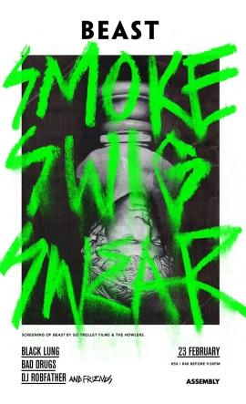 SMOKE SWIG SWEAR album launch poster