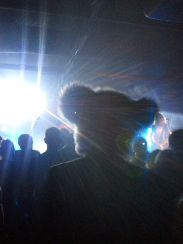 The photos I took of the SMOKE SWIG SWEAR album launch at Assembly are too shameful so instead here is a picture of the bear head guy who was standing in front of me.